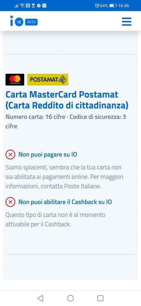 Cashback Cashback con carta del reddito di cittadinanza, ancora non è possibile
